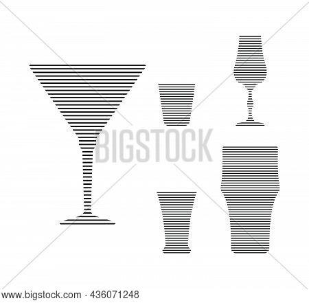 Martini, Vodka, Liquor, Tequila And Beer Glass In Minimalist Linear Style. Silhouette Of Glassware P