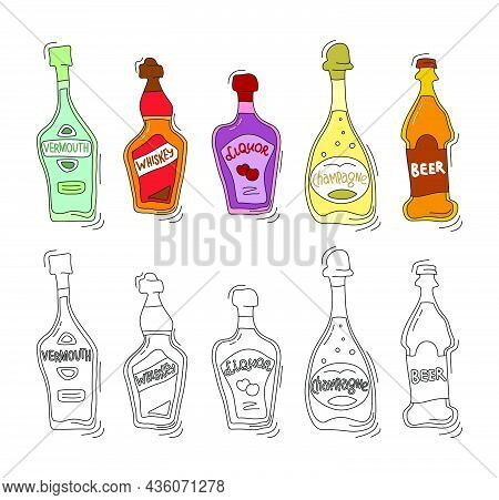 Vermouth, Whiskey, Liquor, Champagne, Beer Bottle On White Background. Cartoon Sketch. Doodle Style