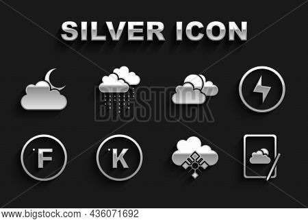 Set Kelvin, Lightning Bolt, Weather Forecast, Cloud With Snow, Fahrenheit, Sun And Cloud Weather, Mo