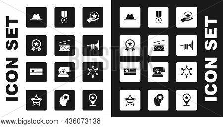 Set Usa Independence Day, Drum And Drum Sticks, Medal With Star, Man Hat Ribbon, Trumpet, Hexagram S