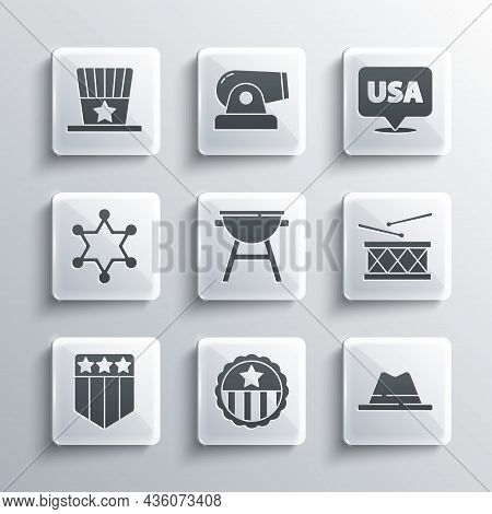 Set Medal With Star, Man Hat Ribbon, Drum And Drum Sticks, Barbecue Grill, Shield Stars, Hexagram Sh