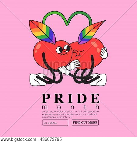 Two Cute Cherries Hug Each Other Tenderly With Rainbow Colored Leaves. Creative Lgbtq Or Pride Month