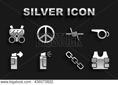 Set Pepper Spray, Whistle, Bulletproof Vest, Chain Link, Barbed Wire, Gas Mask And Peace Icon. Vecto
