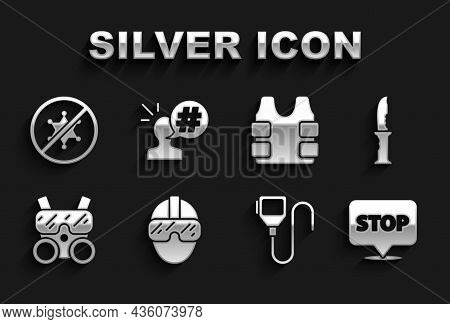 Set Special Forces Soldier, Military Knife, Protest, Walkie Talkie, Gas Mask, Bulletproof Vest, And