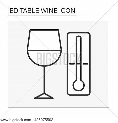 Drinking Line Icon. Perfect Serving And Drinking Temperature For Wine. Wine Concept. Isolated Vector
