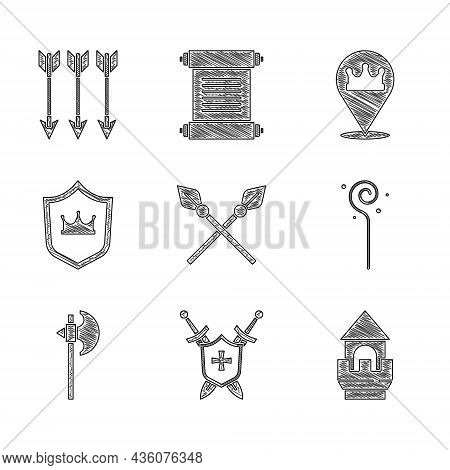 Set Crossed Medieval Spears, Medieval Shield With Swords, Castle Tower, Magic Staff, Axe, Shield Cro