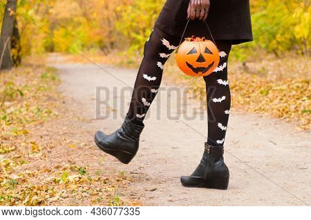 Womens Legs In Tights With Bats Walking Through The Halloween Forest