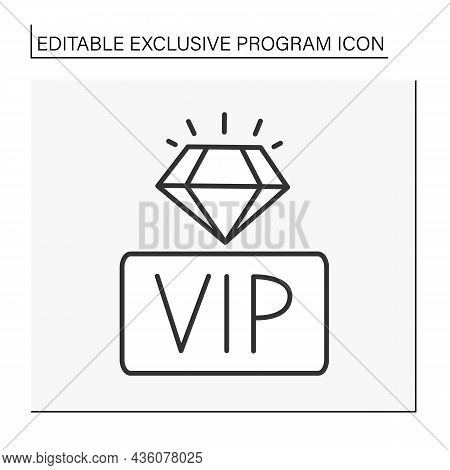 Vip Line Icon. Very Important Person With Special Bonuses. Loyalty And Diamond For Membership. Exclu