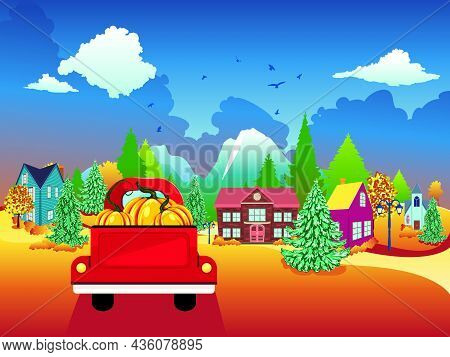 Autumn Village And Red Pickup With Pumpkins