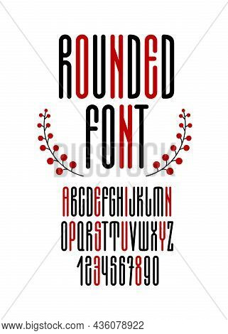 Rounded Tall Thin Font In Cyrillic Style. English Alphabet From A To Z And Numbers From 0 To 9.