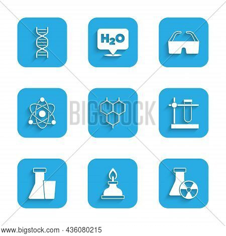 Set Chemical Formula, Alcohol Spirit Burner, Test Tube Radiation, Flask Stand, Atom, Safety Goggle G