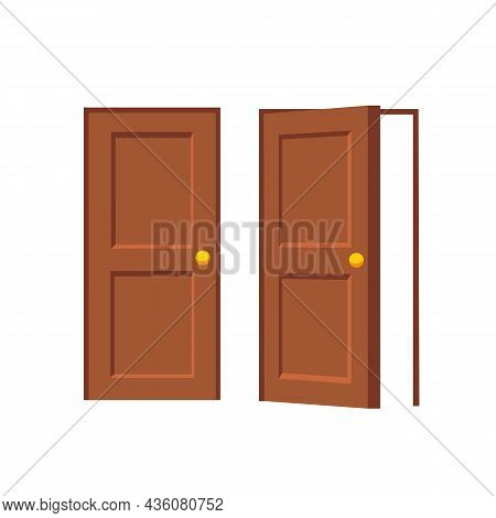 Open And Closed Doors Isolated On White Background. Vector Stock