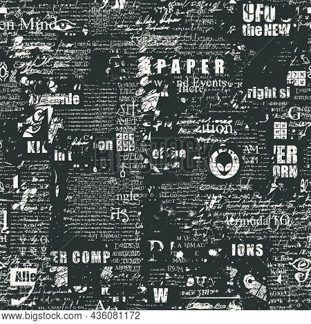 Abstract Seamless Pattern With Fragments Of Handwritten Scribbles, Typescript And Newspaper Headline