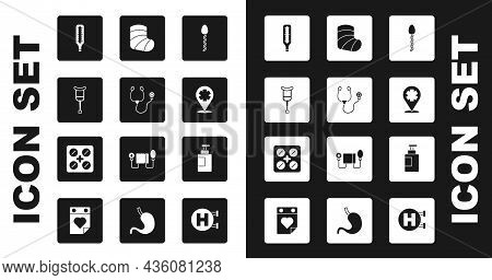 Set Sperm, Stethoscope, Crutch Or Crutches, Medical Thermometer, Location With Cross Hospital, Gypsu