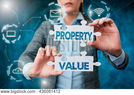 Conceptual Display Property Value. Business Concept Worth Of A Land Real Estate Appraisal Fair Marke