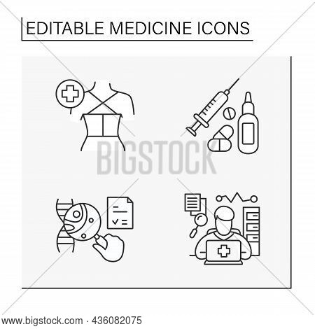 Medicine Line Icons Set. Gna Research, Drugs And Nasal Spray, Treatment, Spine Fixation, Consultatio