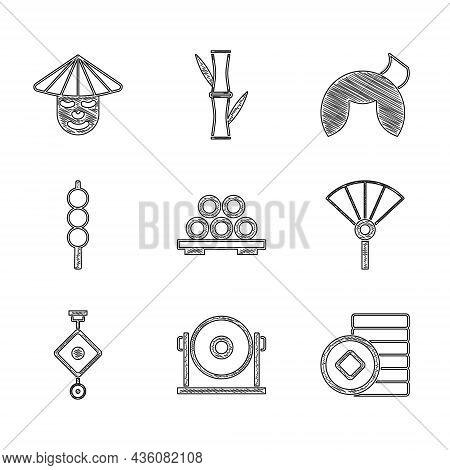 Set Sushi On Cutting Board, Gong, Chinese Yuan Currency, Or Japanese Folding Fan, Paper Lantern, Mea