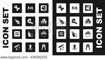 Set Fish Head, Octopus Of Tentacle, Tail, Sushi On Cutting Board, Caviar And Canned Fish Icon. Vecto