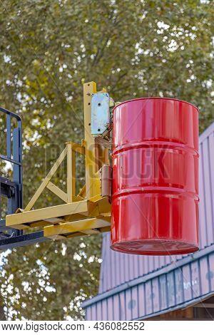 Oil Drum Grabber At Forklift Truck Attachment