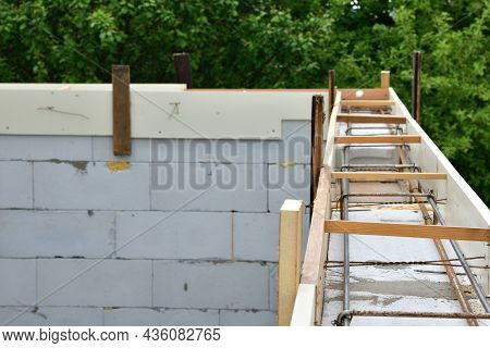 Formwork Concreting Walls At Construction Site With Wooden And Iron Rod