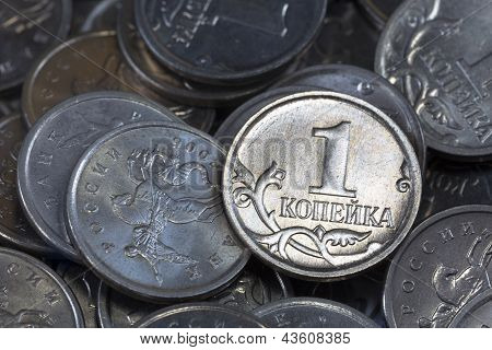 Russian coins in denominations of one copeck poster