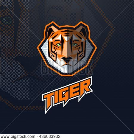 Tiger Head Logo, Mascot Or Esport With The Inscription On A Black Background.