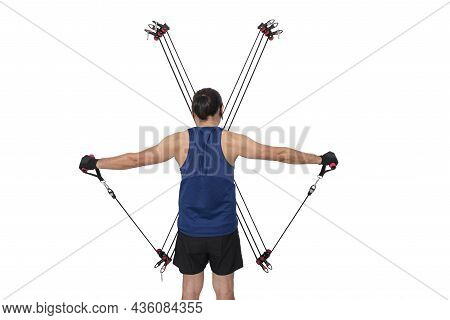 Asian Handsome Man Doing Exercise By Focusing On Tightening The Upper Arm Muscles. By Puling The Rop