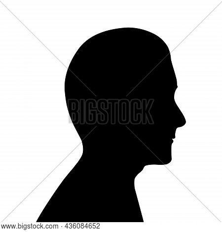 Black Silhouette Of Male Head. Profile Of Man, Guy. Middle-aged Man With A Straight Nose And Short H