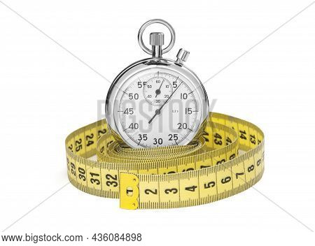 Stopwatch And Yellow Measuring Tape. Isolated On White Background