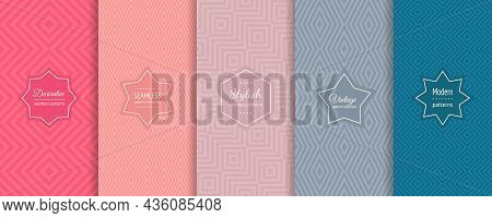 Geometric Line Seamless Patterns. Vector Set Of Stylish Linear Backgrounds With Elegant Minimal Labe