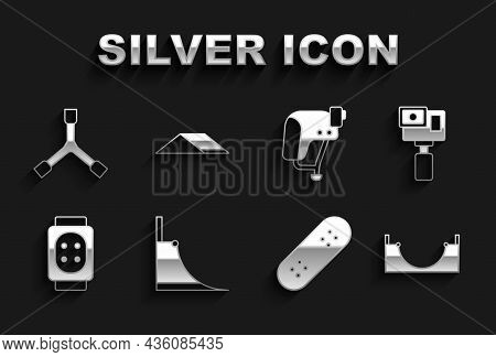 Set Skate Park, Action Camera, Skateboard, Knee Pads, Helmet, Y-tool And Icon. Vector