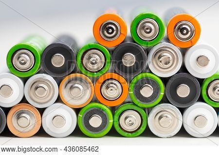 Set Of Aa Batteries On One Side.