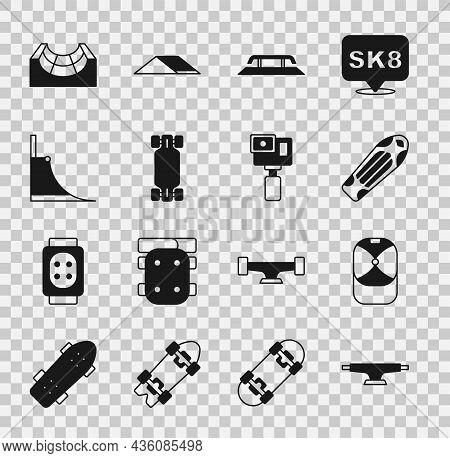Set Skateboard Wheel, Baseball Cap, Deck, Stairs With Rail, Longboard Or Skateboard, Park, And Actio