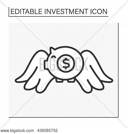 Business Line Icon. Invest Money In A Piggy Bank. Savings.bank Account. Investment Concept. Isolated