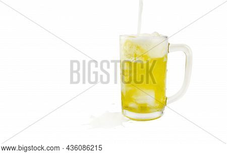 Beer, Glass Of Beer, Full Beer In A Glass Isolated On White Background, Copy Space
