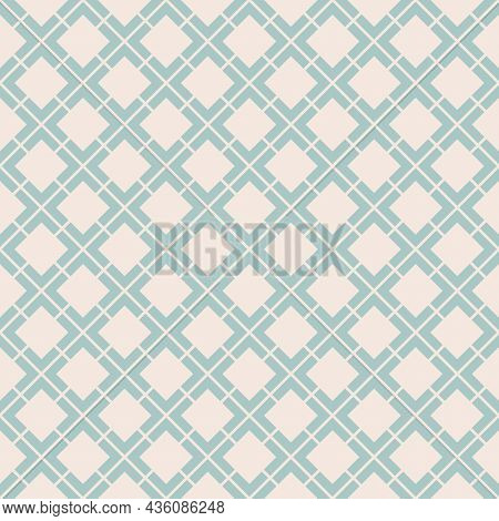 Vector Geometric Seamless Pattern. Abstract Vintage Texture With Big Diamond Shapes, Rhombuses, Squa