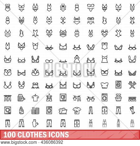 100 Clothes Icons Set. Outline Illustration Of 100 Clothes Icons Vector Set Isolated On White Backgr