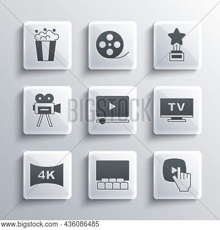 Set Cinema Auditorium With Screen, Online Play Video, Smart Tv, Screen Tv 4k, Retro Cinema Camera, P