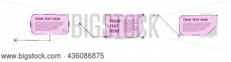 Hud Futuristic Style Callout Titles On White Background. Infographic Call Arrow Box Bars And Modern