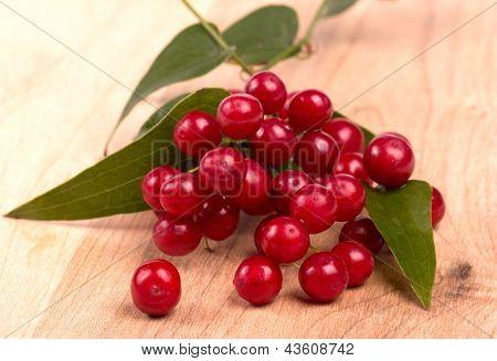 Red Berries  On Wood
