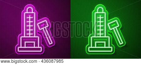 Glowing Neon Line High Striker Attraction With Big Hammer Icon Isolated On Purple And Green Backgrou