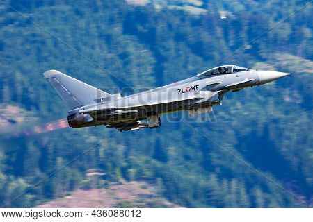 Zeltweg, Austria - June 29, 2013: Military Fighter Jet Plane At Air Base. Air Force Flight Operation