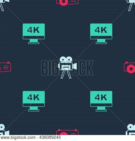Set Movie, Film, Media Projector, Retro Cinema Camera And Screen Tv With 4k On Seamless Pattern. Vec