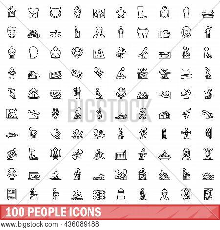 100 People Icons Set. Outline Illustration Of 100 People Icons Vector Set Isolated On White Backgrou