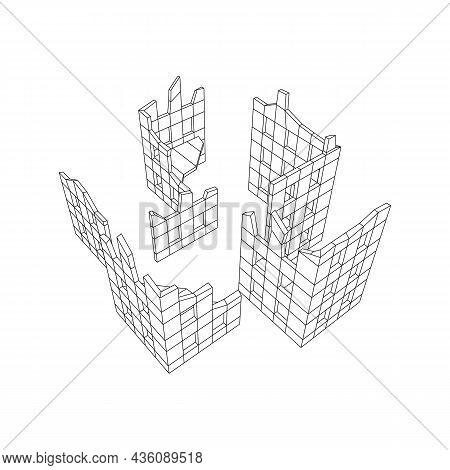 Destroyed Building Ruin And Concrete, War Destruction Concept