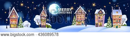 Christmas Winter House Illustration, Vector Snow X-mas Home, Night Little Town Background, Full Moon