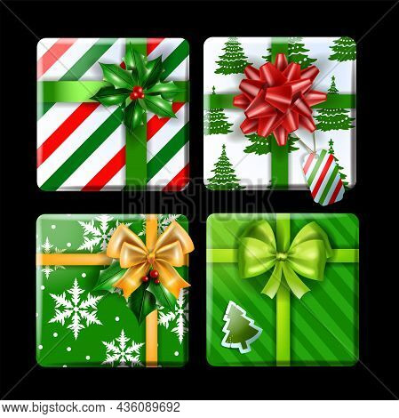 Christmas Gift Box Vector Illustration Set, X-mas Winter Holiday Present Kit, New Year Surprise Pack