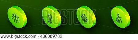 Set Isometric Line Attraction Carousel, , Target Sport And Striker Attraction With Hammer Icon. Vect