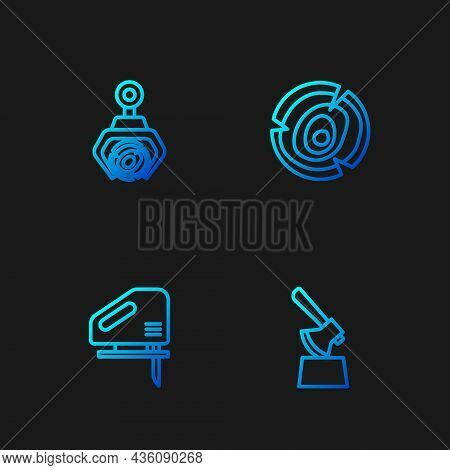 Set Line Wooden Axe In Stump, Electric Jigsaw, Grapple Crane Grabbed Log And Logs. Gradient Color Ic