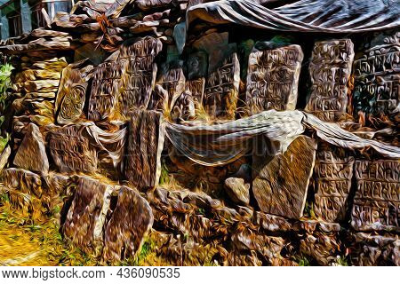 Pile Of Stone Slabs Carved With Buddhist Prayers And Holy Words At The Himalayas. The World Highest